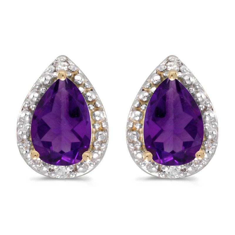 Color Merchants 14k Yellow Gold Pear Amethyst And Diamond Earrings