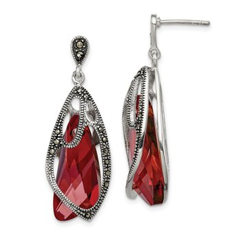 Sterling Silver Red Crystal from Swarovski Marcasite Dangle Post Earrings