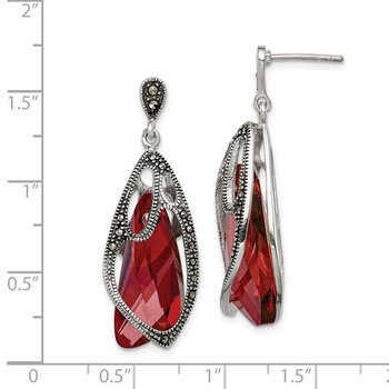 Sterling Silver Marcasite/Swarovski Crystal Dangle Post Earrings