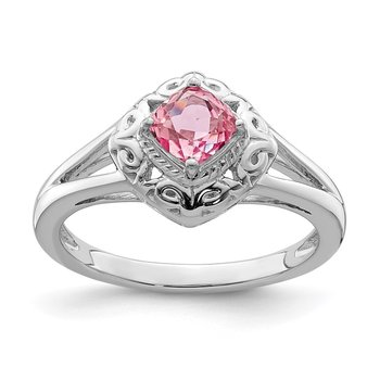 Sterling Silver Rhodium-plated Pink Tourmaline Ring