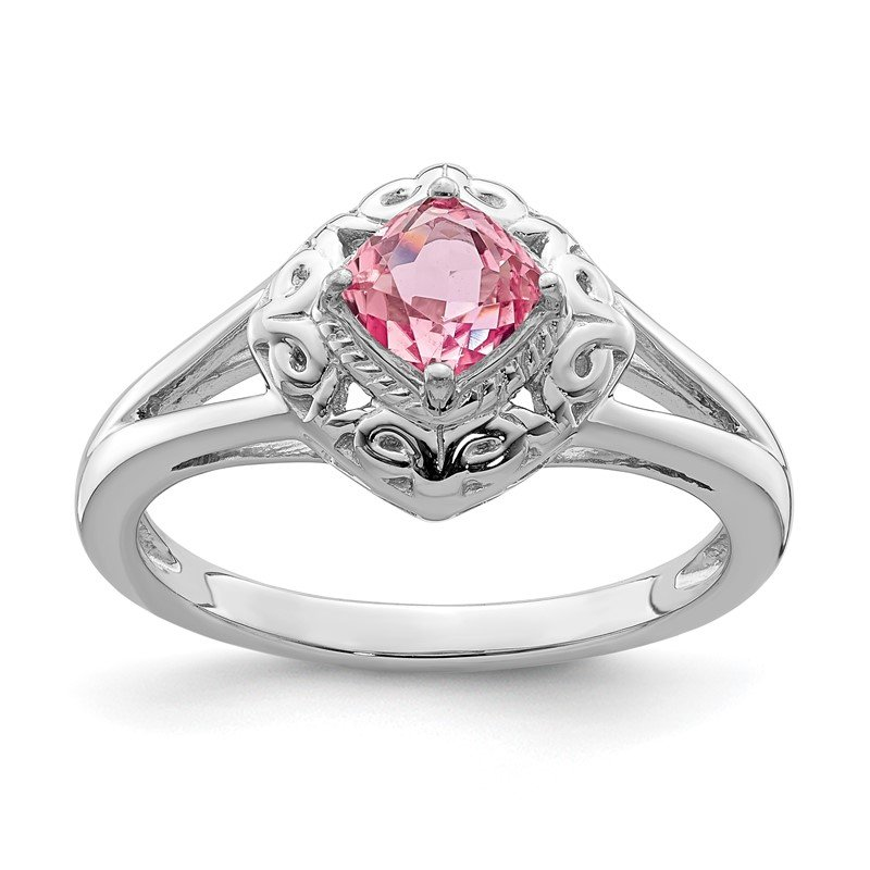 Quality Gold Sterling Silver Rhodium-plated Pink Tourmaline Ring