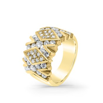 18K Yellow Gold Diamond Wide Vintage Fashion Ring