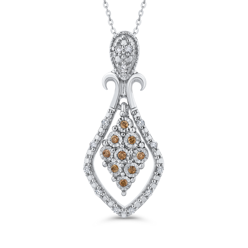 Essentials 10K White Gold .12 Ct Brown and White Diamond Fashion Pendant with Chain