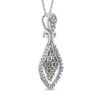 10K White Gold .12 Ct Brown and White Diamond Fashion Pendant with Chain