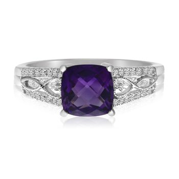 14k White Gold Cushion Amethyst  and Diamond Filigree Ring