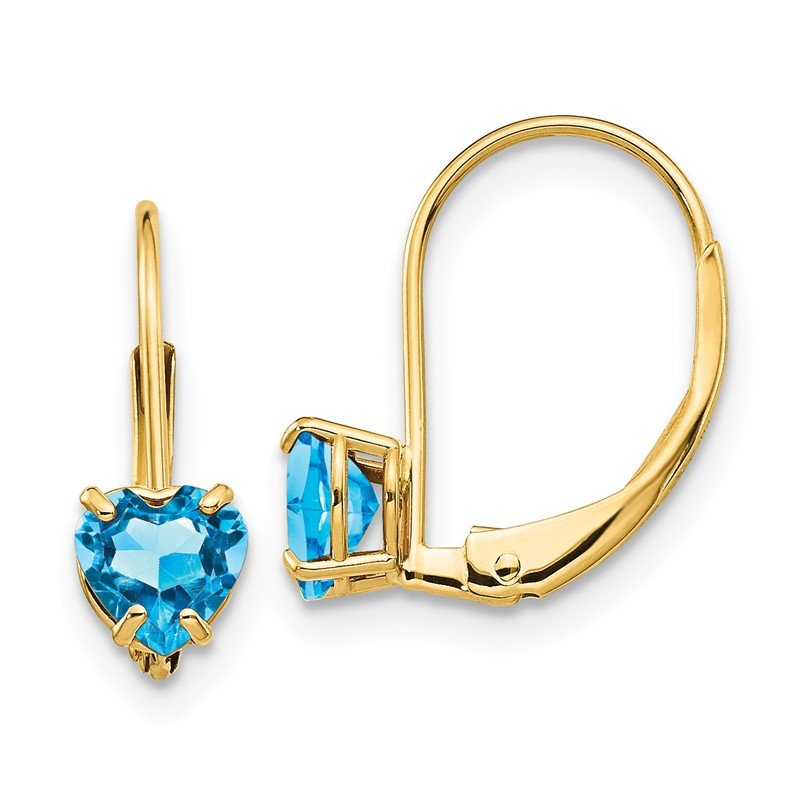 Quality Gold 14k 5mm Heart Blue Topaz Leverback Earrings