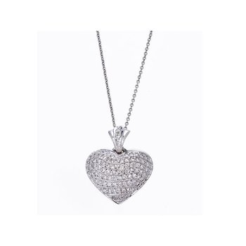 18KT GOLD HEART WAVE PENDANT WITH DIAMONDS