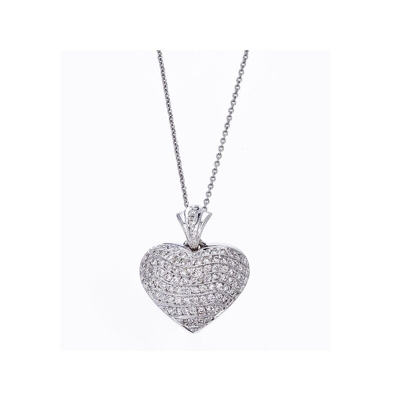 Roberto Coin 18Kt Gold Heart Wave Pendant With Diamonds