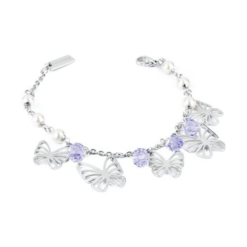 316L stainless steel, provence lavender crystals and Swarovski® Elements pearls.