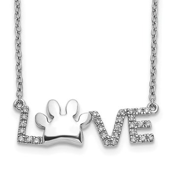 14k White Gold Diamond Paw Print Love Necklace