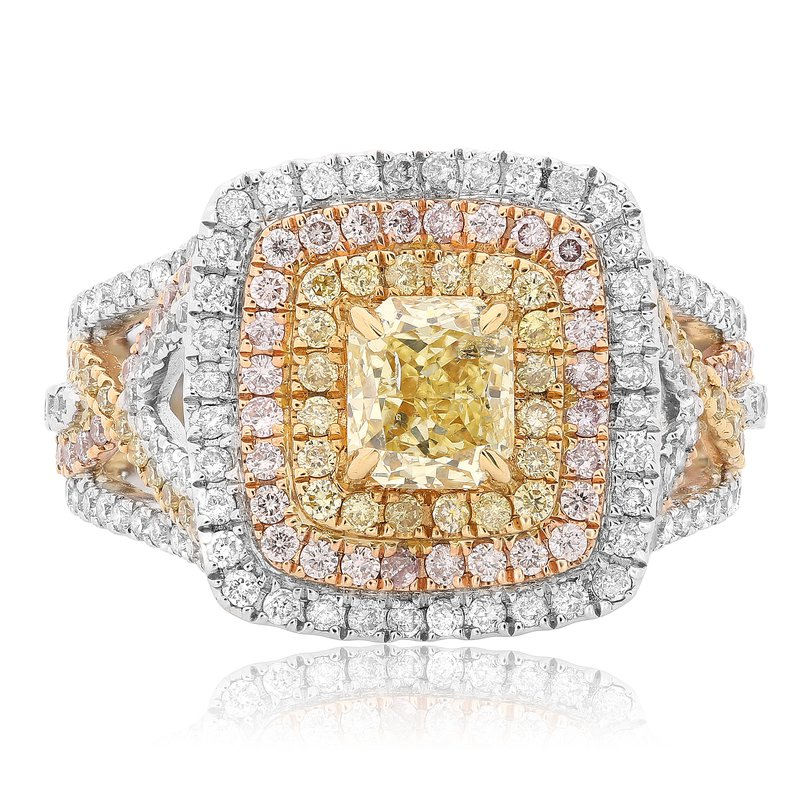 Roman & Jules Colorful Triple Halo Diamond Ring