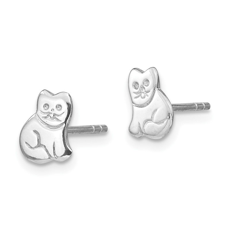 Quality Gold Sterling Silver RH Plated Child's Polished Kitty Cat Post Earrings