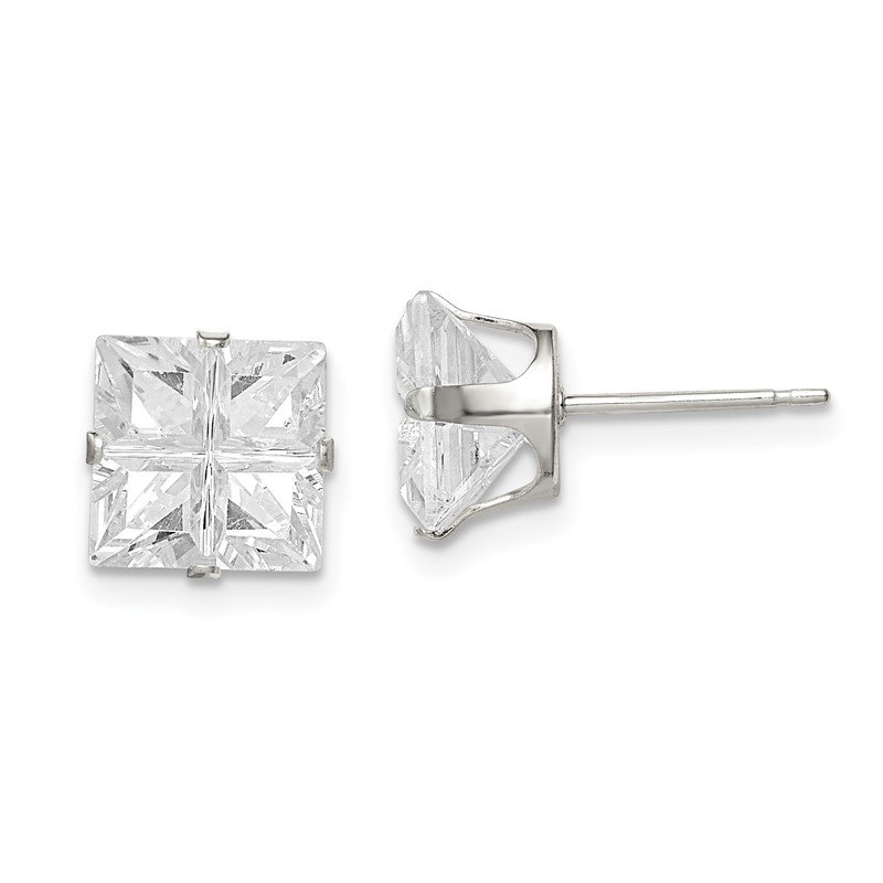 Quality Gold Sterling Silver 8mm Square Snap Set Cross-cut CZ Stud Earrings
