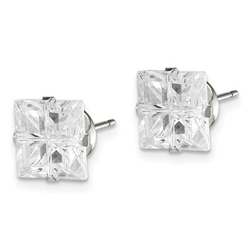 Sterling Silver 8mm Square Snap Set Cross-cut CZ Stud Earrings