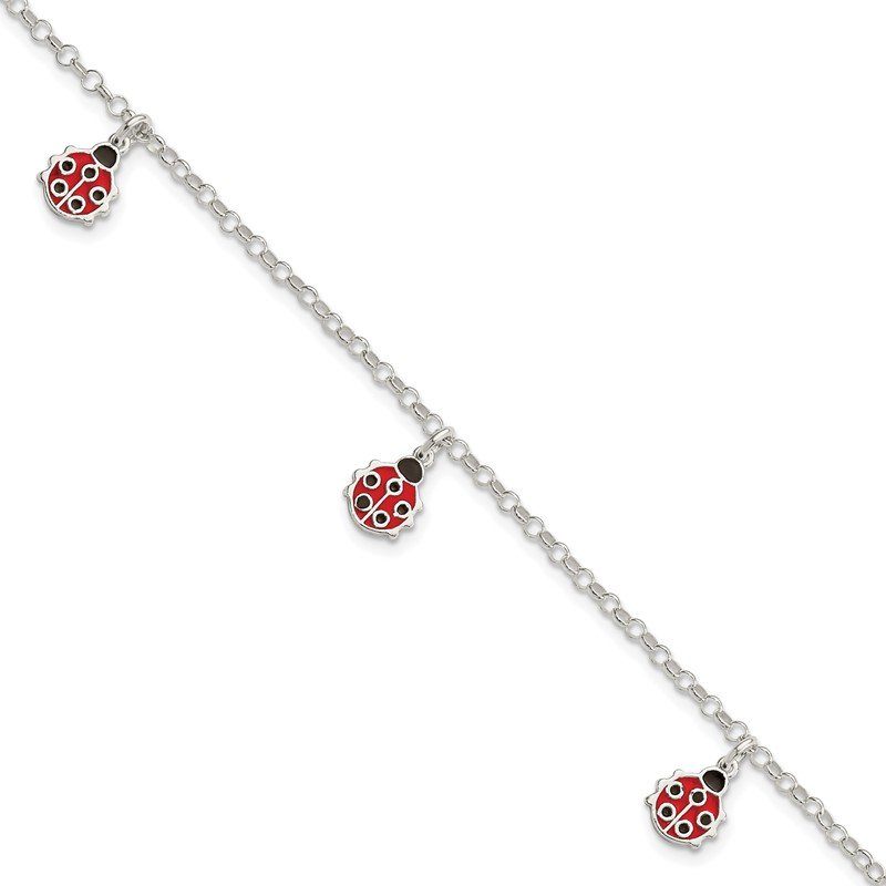 Quality Gold Sterling Silver Childrens Enameled Ladybug 6in Plus 1in ext Bracelet