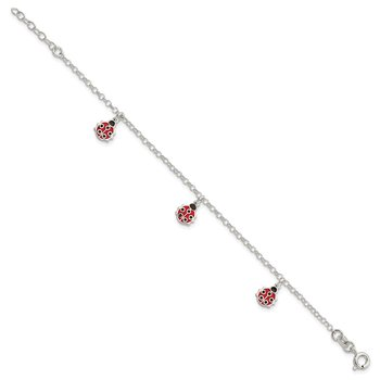 Sterling Silver Childrens Enameled Ladybug 6in Plus 1in ext Bracelet