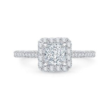 14K White Gold Princess Diamond Halo Engagement Ring (Semi-Mount)