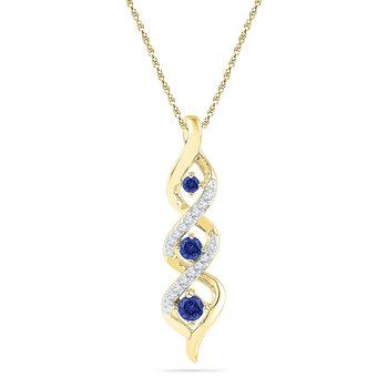 10kt Yellow Gold Womens Round Lab-Created Blue Sapphire Cascading 3-stone Pendant 1/3 Cttw
