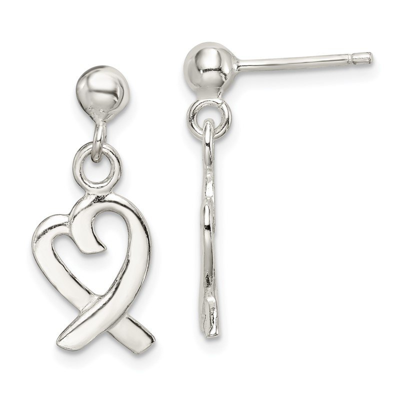 Quality Gold Sterling Silver Heart Dangle Post Earrings