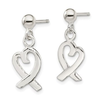Sterling Silver Heart Dangle Post Earrings