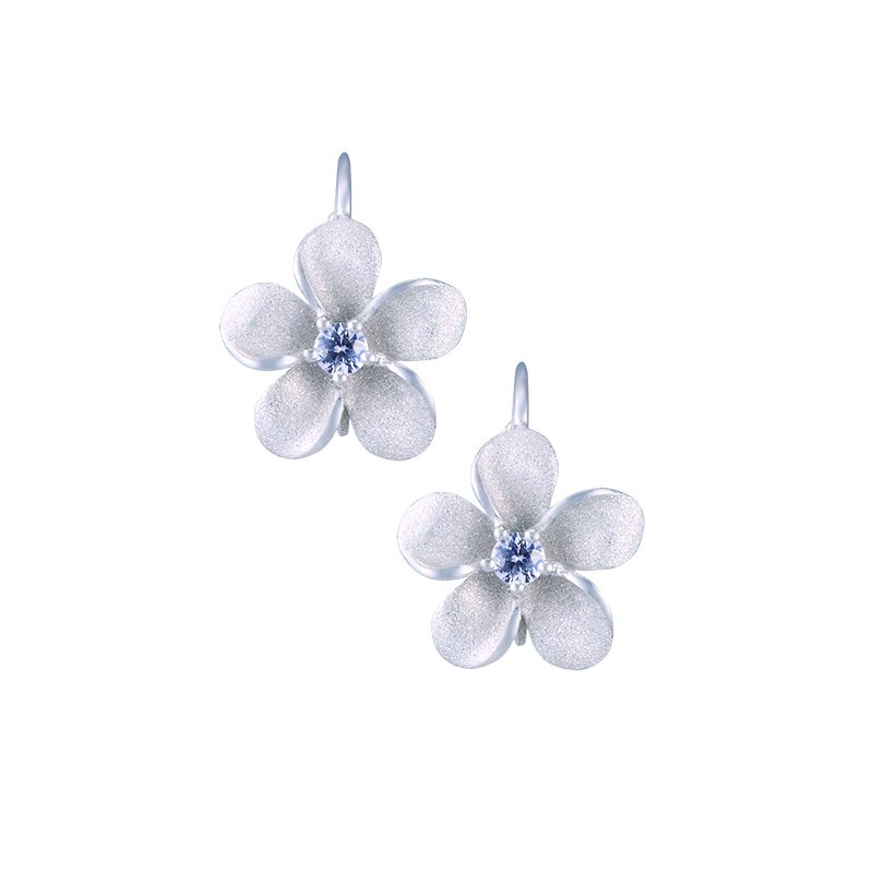 Denny Wong Designs Precious Silver Plumeria Leverback Earrings