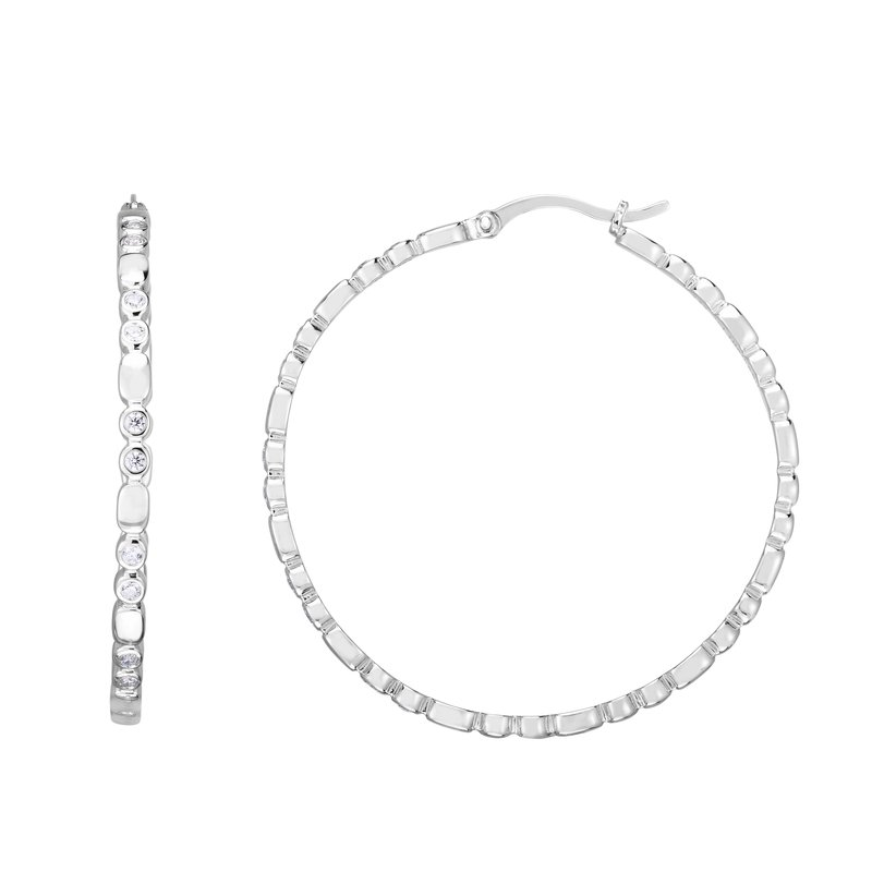 Royal Chain Silver 35x3mm Bezel CZ Accent Hoops