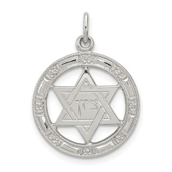 Sterling Silver Star of David Disc Charm
