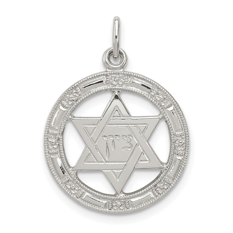 Quality Gold Sterling Silver Star of David Disc Charm