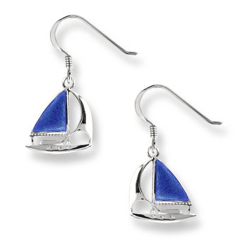 Blue Sailboat Wire Earrings.Sterling Silver