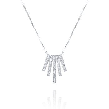 Diamond Flared Line Pendant Set in 14 Kt. Gold