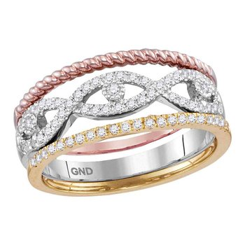 10kt Tri-Tone Gold Womens Round Diamond Stackable Rope Band Ring 3-Piece Set 1/3 Cttw
