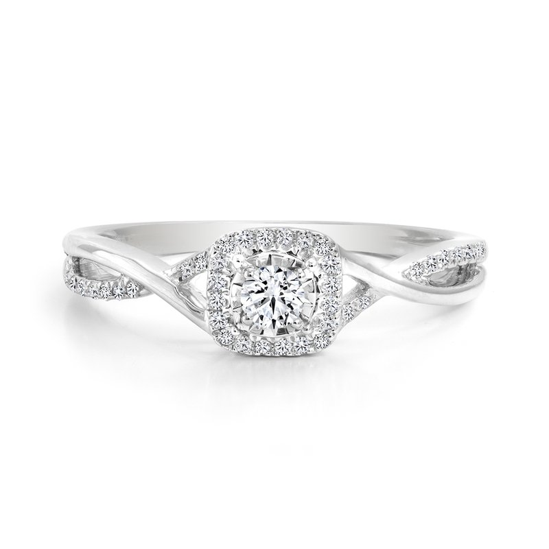 Twist Halo Diamond Engagement Ring