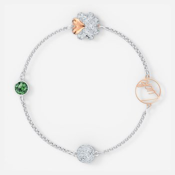 Swarovski Remix Collection Clover Strand, Green, Mixed metal finish