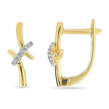 10K YG and Diamond Lever Back Ovalish Earring in crossbar design, micro prong set.