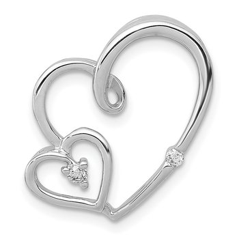 14k White Gold 1/20ct. Diamond Double Hearts Chain Slide