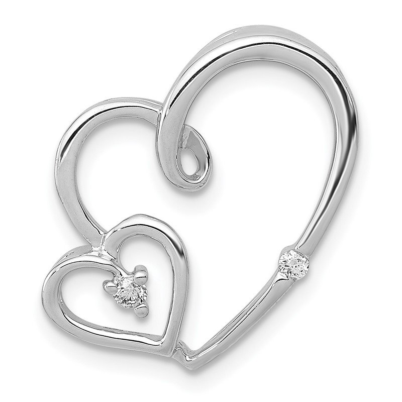 Quality Gold 14k White Gold 1/20ct. Diamond Double Hearts Chain Slide