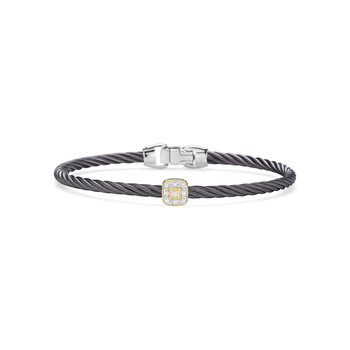 Steel Grey Cable Essential Stackable Bracelet with Single Square Diamond Station set in 18kt Yellow Gold