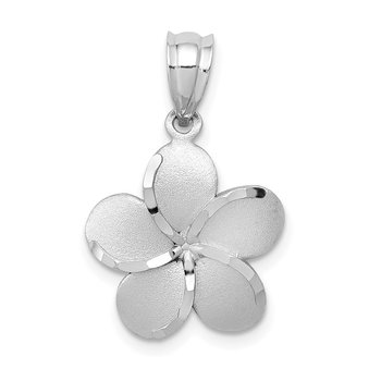14k Yellow Gold Dipped in White Rhodium Satin D/C Plumeria Charm
