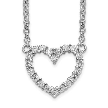 Sterling Silver Open Heart CZ 16 inch Necklace