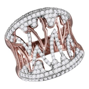 10kt Two-tone Rose White Gold Womens Round Diamond Cocktail Band Ring 1.00 Cttw