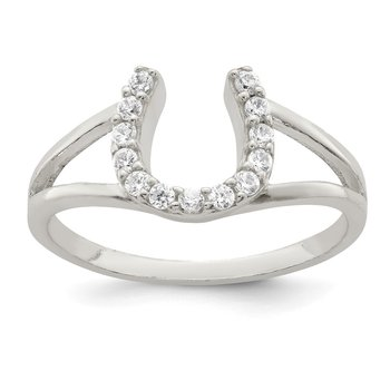 Sterling Silver Polished CZ Horseshoe Ring