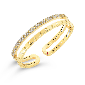 18Kt Gold Double Symphony Pois Moi Bangle With Diamonds