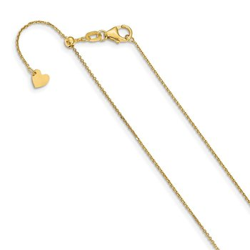 Leslie's 14K 1 mm Diamond-cut Adjustable Cable Chain