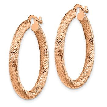 14k 3x25mm Rose Gold Diamond-cut Round Hoop Earrings