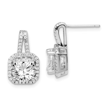 Sterling Silver Rhodium-plated CZ Halo Post Earrings