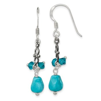 Sterling Silver Turquoise and Blue Crystal Antiqued Earrings