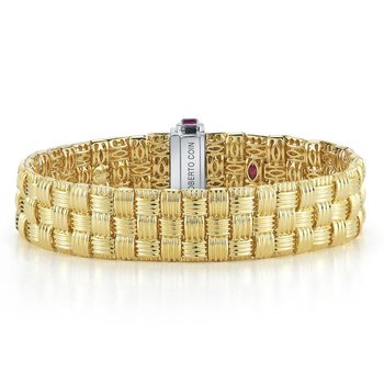 18KT GOLD 3 ROW BRACELET WITH DIAMOND CLASP