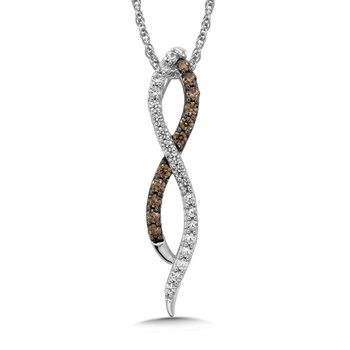 Pave set Cognac and White Diamond Infinity Pendant, 14k White Gold  (1/3 ct. dtw.)