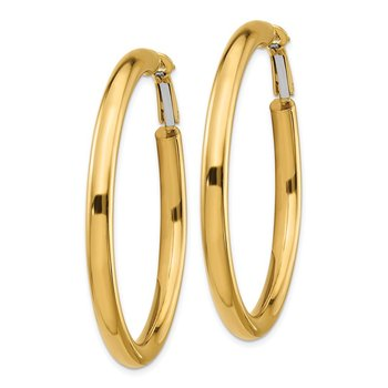 14k 4x50mm Polished Round Omega Back Hoop Earrings