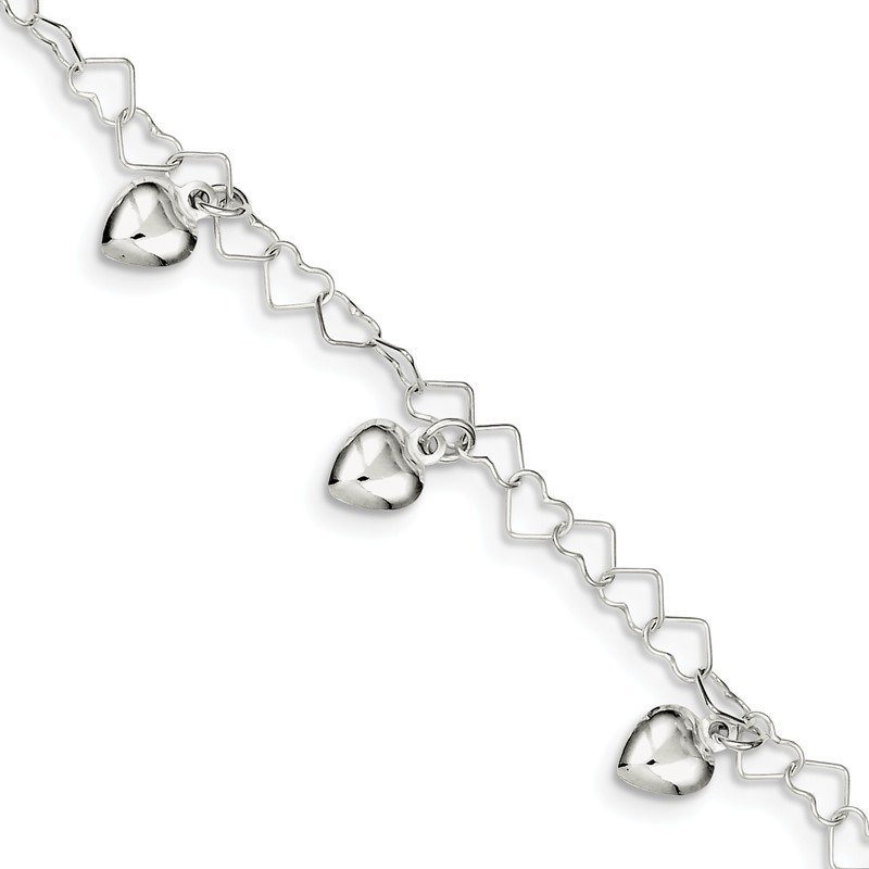 Quality Gold Sterling Silver Dangling Heart Bracelet